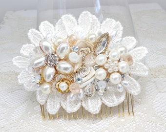 Gold Bridal Hair Comb- Ivory & Gold Bridal Comb/Clip- Bridal Hair Accessories- Ivory Wedding Hair Accessories- Bridal Hairpiece-Brass Boheme