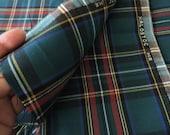"Tartan Plaid School Uniform Fabric Deep Green and Red 53"" Long"