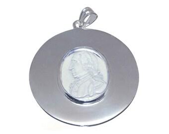 George Washington Pendant Rock Crystal Hand carved Sterling Silver 925
