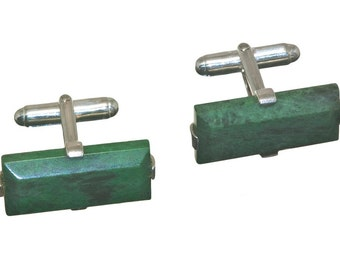 Jade Albite Gothic Rectangular Cuff Links Sterling Silver 925