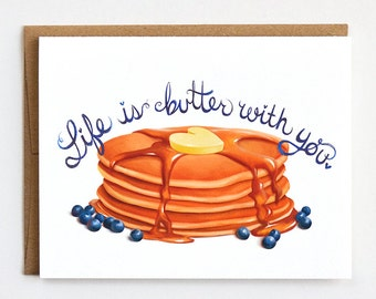 Valentines Day Card, Pun Valentine, Breakfast Love, Pancakes