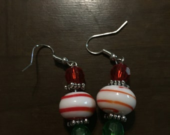 Peppermint Stripe Candy Earrings , Cheri's Gift and Treasures