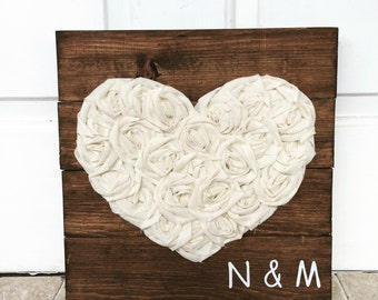 Heart sign, fabric heart, rustic pallet sign, 14x14, wedding gift, nursery decor, custom, love, heart decor, gallery wall, anniversary gift