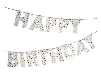 Happy Birthday Garland - Spotty Dots