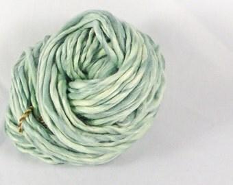 Sage grey  chunky spun single ply optim merino yarn. Hand spun, solar dyed -  Pure merino  wool yarn. 16 micron  super soft optim merino