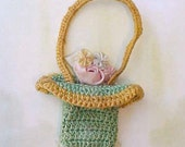 Sweet Tiny Crochet Basket Thimble Holder with Ribbon Rosettes