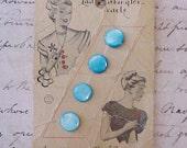 4 Little Aqua Lady Washington Pearls Buttons on Their Original Card