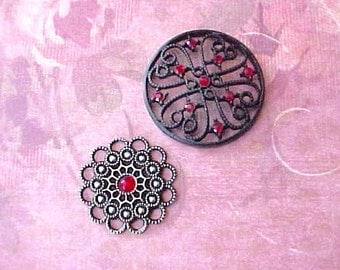 "2 Pretty Jewelry Findings with Crimson ""Jewels"""