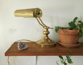 glam hollywood regency brass lamp. mid century brass bankers lamp. brass light desk boho decor