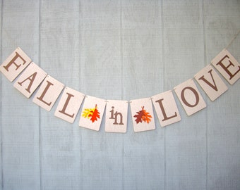fall in love banner, love banner, fall wedding banner, autumn wedding banner, fall engagement banner, autumn engagement banner