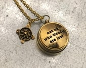 Not All Those Who Wander Are Lost Working Compass, Mini Open Face Compass, Gold Plate Compass, Travel Gift