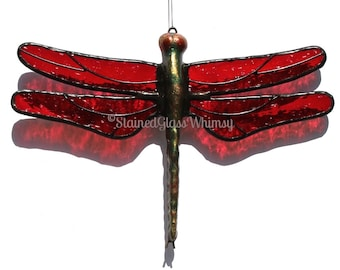 Stained Glass Red DRAGONFLY Suncatcher, Deep Red Wings & Handcast Metal Body, USA Handmade, Dragonfly Ornament, Ruby Red Dragonfly