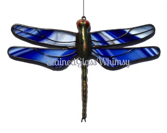 Stained Glass DRAGONFLY Suncatcher - Cobalt Blue & White on Clear - USA HandMade, Blue Dragonfly, Blue Firefly