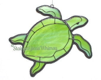 Stained Glass SEA TURTLE Suncatcher - Lime Green, Spring Green - USA Handmade Original Design, Green Sea Turtle, Turtle Suncatcher