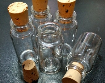 5 Wide Glass Bottle Vials with Cork. Size 1 7/8 inch tall Vial. Item - 2749