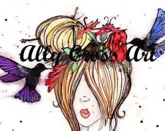 "Fine Art Print ""Hummingbird Hair"" Painting by Ally Cross"