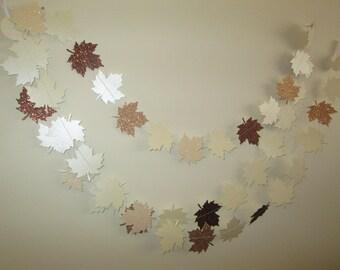 Glitter Leaf Garland - Fall in Love, Weddings, leaf garland, home decor,glitter leaves, Thanksgiving, fall decorating, Harvest