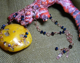 """Designer Jewelry - 28"""" necklace - copper, handcrafted copper, crystals - handmade by Deb DJ169"""