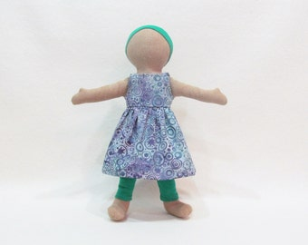 """Little doll sundresses, soft cloth doll, waldorf inspired toy, modern simple gift, long lasting doll clothes, 11"""" doll clothes"""