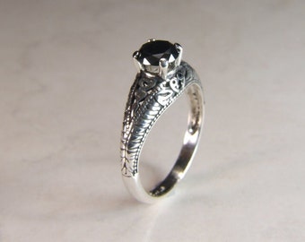 Synthetic Black Diamond, 6mm x 1.25 Carats, Round Cut, Sterling Silver art Deco Revival Style Ring