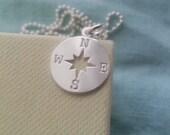 Sterling Silver Compass Necklace. Compass Pendant. Sterling Silver Necklace. Ball Chain. Christmas Gift. Navigation. Graduation