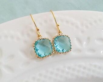 Aquamarine  Earrings. Blue Aquamarine. Dainty Delicate Earrings. Faceted Glass Earrings. Gold Earrings. Dangly Dangle. Christmas Gift