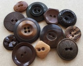 primitive brown and black art deco vintage eco friendly celluloid vegetable ivory plastic distressed buttons--mixed lot of 12