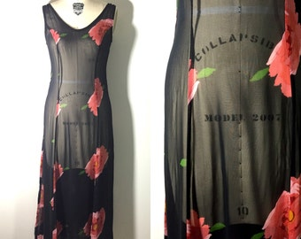 90s Betsey Johnson rose floral grunge gothic romantic pink black sheer festival dress