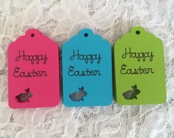Happy Easter Tag, Bunny Rabbit Tag, Easter Egg Hunt Favor Label - Set of 20