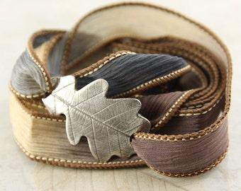 Silver Oak Leaf Bracelet - Silk Ribbon Wrap in Meadow Colours