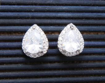 Cubic Zirconia Earrings, Teardrop Pear Stud Earrings, Bridal Earrings, Wedding Bridesmaids Earrings, Christmas Gift, Birthday Gift