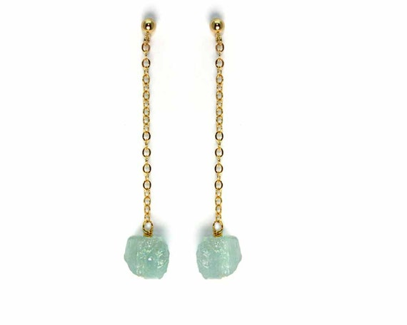 Raw Aquamarine Drop Earrings. Chain Post Drop Earrings. Rough Gemstone Earrings. E-1923