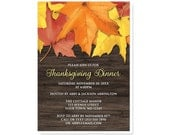 Thanksgiving Dinner Invitations - Rustic Autumn Leaves Wood Country Thanksgiving Invitations - Printed Invitations