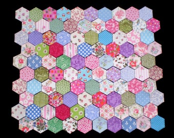 100 Tacked Hexagons for patchwork, inc. vintage Laura Ashley & Cath Kidston Fabric Designs