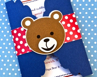 Gate Fold Teddy Bear Invitations - Red White and Blue