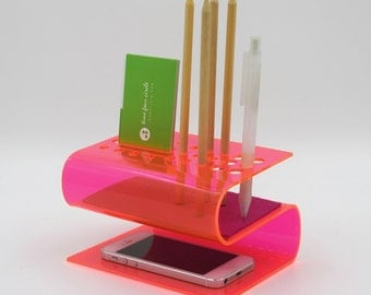 iPhone 6, 6Plus, iPhone 5, 5C, 5S stand, Organizer Desk System, Modern And Minimalist,  Pen Holder, Pencil Holder