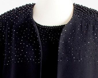 80s Vintage Elegant Haute couture Black 2 Parts Woman Suit – Dress & Jacket – Perletti Milano original