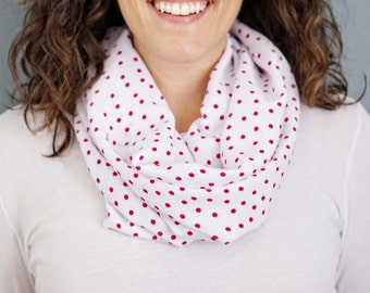 White and Pink Polka Dot Infinity Scarf