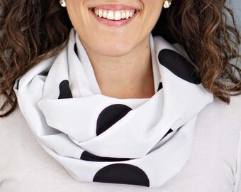 White and Black Polka Dot Print Infinity Scarf