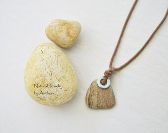 Yoga accessory - natural jewelry - river stone - organic necklace -for men or women - zen