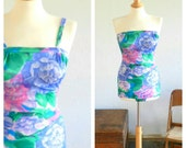 60's CLASSIC SWIM SUIT - One Piece / Pin Up / Mad Men / Pastel / Pointed Bra Cup / Retro / Summer / Medium