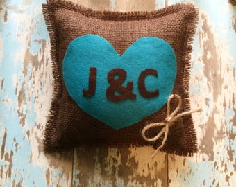 "8"" x 8"" Burlap Ring Bearer Pillow w/ Heart & Initials-Personalize-Custom Colors Available- Rustic/Country/Shabby Chic/-Wedding Ceremony"