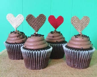 Set of 12-Burlap Heart Cupcake Toppers-Choose Your Colors-Rustic/Country/Shabby Chic-Valentines-Engagement-Bridal Shower-Wedding-Baby Shower
