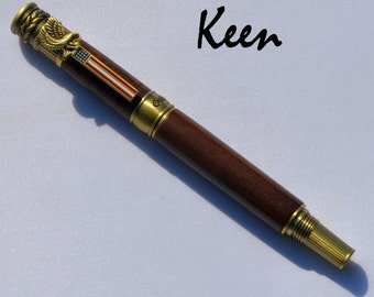dv - Keen Handcrafted Handmade California Black Walnut American Patriot Antique Brass Rollerball Pen