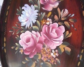 Vintage handpainted wood tray lovely pink roses with spider mum wall decor