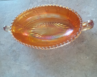 Fenton Carnival Glass small oval dish   beautifully crafted FREE SHIPPING USA
