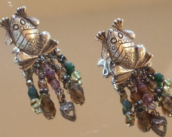 Vintage silver toned frogs  Robert Shields stud earrings with dangle glass beads. FREE SHIPPING USA