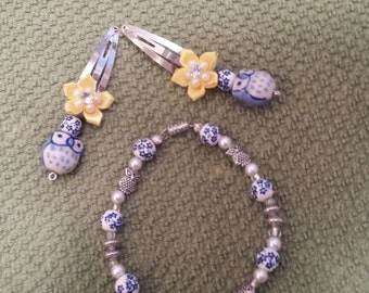 Cute  bracelet with owls and matching hair clips handmade