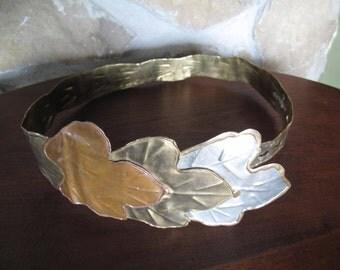 Metal Belt, Wide, Hand Forged, Brass, Copper, Steel, Oak Leaves, Size Women's Small, Statement, Goddess, Warrior, Costume, Renaissance