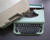 Vintage Antares Parva Typewriter // 1950's 1960's Dark Sea Green Colored Typewriter for Home Decor and Use Writer Poet Gift Idea Italy Made